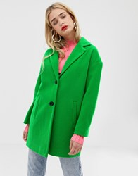 Stradivarius Single Breasted Coat In Green