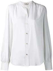 Vince Long Sleeve Fitted Blouse White