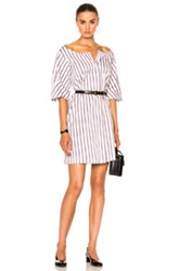 Isa Arfen Full Sleeve Mini Dress In Stripes White Stripes White