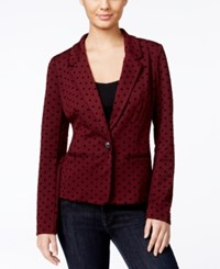 Kensie Long Sleeve Polka Dot Blazer Wildberry Combo