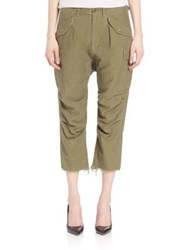 R 13 Cropped Cargo Pants Olive