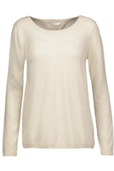 Joie Marianna Lace Paneled Stretch Knit Top Off White