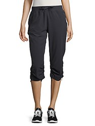 Andrew Marc New York Solid Banded Waist Capri Pants Charcoal