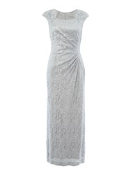 Tahari By Arthur S. Levine Asl Sequin Lace Cap Sleeve Gown Silver Metallic
