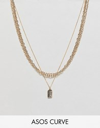Asos Design Curve Multirow Necklace With Mixed Link Chain And Tag Pendant In Gold