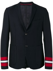Gucci Striped Cuffs Blazer Blue