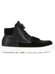 Kris Van Assche Strapped Hi Top Sneakers Calf Leather Leather Nylon Rubber Black