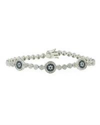 Diana M. Jewels 18K White Gold Diamond And Sapphire Evil Eye Station Bracelet 3.12Tcw