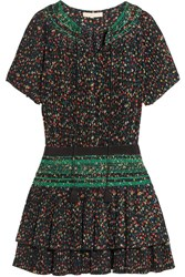 Vanessa Bruno Flory Smocked Floral Print Plisse Crepe Mini Dress Black