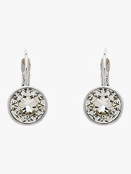 Monet Round Crystal Drop Hook Earrings Silver Clear
