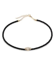 Jacquie Aiche Moonstone Diamond 14K Yellow Gold And Leather Braided Choker Necklace Gold Black