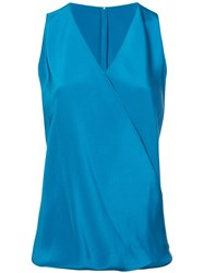 Peter Cohen Wrap Front Blouse Blue