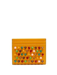 Christian Louboutin Kios Spike Embellished Leather Cardholder Yellow Multi
