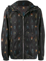 Alexander Mcqueen Insect Print Hooded Jacket Black