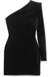 Alex Perry Ambre One Sleeve Velvet Mini Dress Black