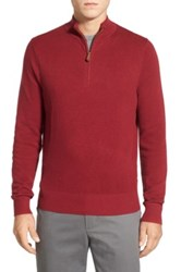 Brooks Brothers Cotton And Cashmere Pique Half Zip Sweater Red