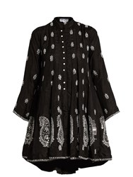 Juliet Dunn Embroidered Silk Dress Black Multi