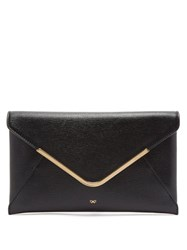 Anya Hindmarch Postbox Grained Leather Envelope Clutch Black