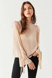 Urban Outfitters Uo Skylar Grace Mesh Tie Cuff Top Ivory