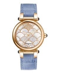 Salvatore Ferragamo 34Mm Idillio Watch W Mother Of Pearl And Diamond Dial And Leather Strap Blue