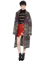 Isabel Marant Multicolor Wool Blend Tweed Long Coat