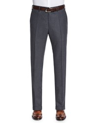 Incotex Wool Cashmere Flannel Trousers Charcoal Grey