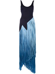 Galvan Carmen Fringe Dress Blue