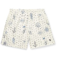 Alexander Mcqueen Mid Length Printed Swim Shorts White