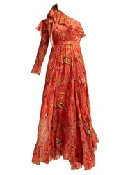 Etro Into The Valley One Shoulder Paisley Silk Gown Red Print