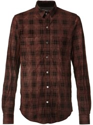 Amiri Plaid Button Down Shirt Red
