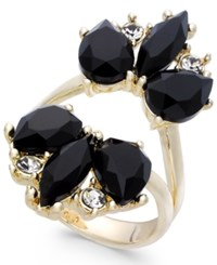 Inc International Concepts Rose Gold Tone Stone And Crystal Split Ring Created For Macy's Black