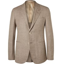 Caruso Brown Butterfly Slim Fit Unstructured Wool Silk And Linen Blend Blazer Tan