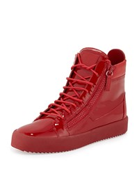 Giuseppe Zanotti Men's Patent Leather High Top Sneaker Red