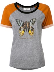 Valentino Butterfly Printed T Shirt Women Cotton S Grey