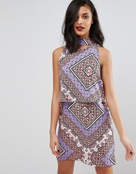Influence Ditsy Patchwork Print Shift Dress Multi