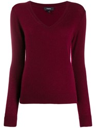 Theory Cashmere V Neck Pullover Red