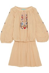 Melissa Odabash Nadja Embroidered Voile Mini Dress Beige