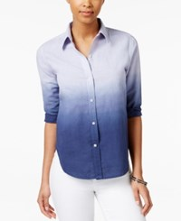 American Living Ombre Button Down Shirt Only At Macy's Blue Multi
