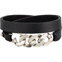 Chain And Leather Wrap Bracelet Black