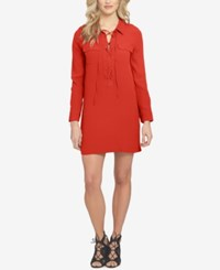 1.State Lace Up Shift Dress Poppy Red