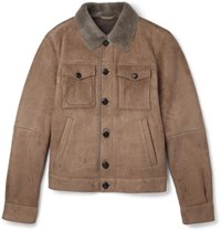 Tod's Lasered Cord Effect Shearling Jacket Brown