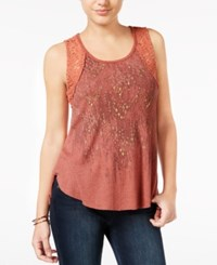 Miss Me Studded Graphic Tank Top Rust