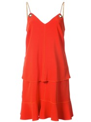 Derek Lam 10 Crosby 2 In 1 Cami Dress With Flounce Skirt Triacetate Synthetic Enamel Red