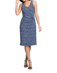 Nic Zoe Geo Print Side Ruched Dress