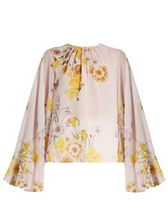 Giambattista Valli Cape Back Floral Print Silk Georgette Blouse Pink Multi