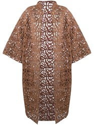 Gianluca Capannolo Brocade Lace Coat Brown
