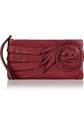 Valentino Rosette Embellished Leather Clutch