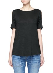 Rag And Bone 'Showoff' Cutout Shoulder T Shirt Black