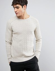 Selected Homme 100 Cotton Crew Neck Knitted Cable Jumper Sand Beige