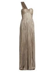 Maria Lucia Hohan Silk Tulle Pleated Gown Grey